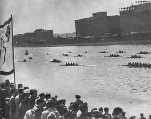 Парад гребных судов на Москве реке.