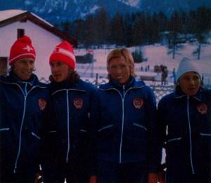 Сборная команда советских лыжниц — чемпион XII зимних Олимпийских игр в эстафете 4 х 5 км